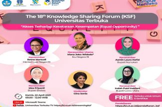 Ibu Negara RI Iriana Joko Widodo, Bupati Luwu Utara Indah Putri Indriani, bakal menjadi pembicara The18th Knowledge Sharing Forum (KSF) Universitas Terebuka 2021 yang rencananya kan digelar Kamis 22 April pekan depan secara virtual.